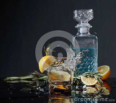Free Cocktail Gin-tonic With Lemon Slices And Twigs Of Rosemary Royalty Free Stock Image - 142117266