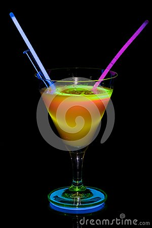 Free Cocktail Glass With Neon Light. Royalty Free Stock Image - 110404646