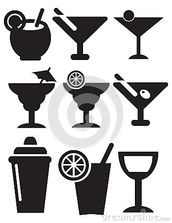Cocktail Icons Vector Illustration