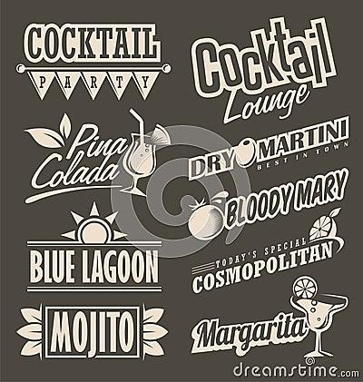 Cocktail lounge retro menu design concept Vector Illustration