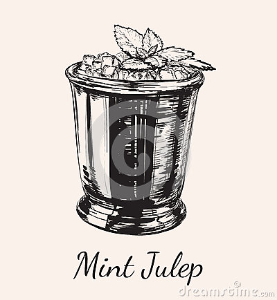 Cocktail Mint Julep for the Derby Hand Drawing Vector Illustration Vector Illustration