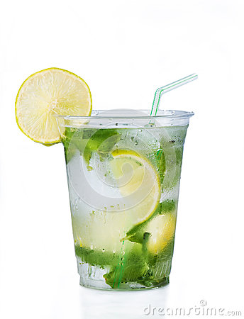 Free Cocktail Mojito In Plastic Glass Royalty Free Stock Image - 25846046