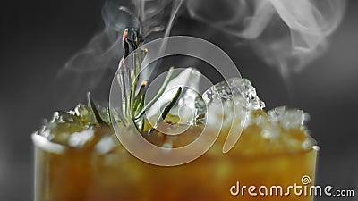 Cocktail não alcoólico do frio com limão, alecrins, gengibre e kvass em um vidro completo do esmagamento do gelo Alecrins do acen filme