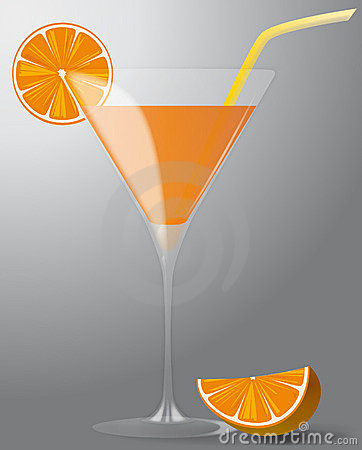 Cocktail with orange and straw