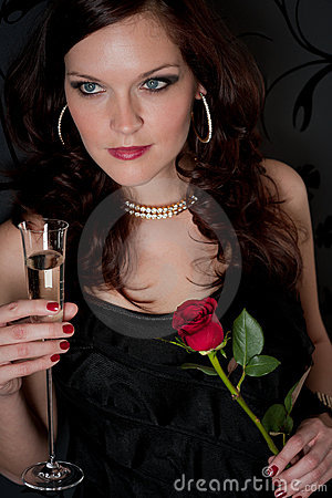 Free Cocktail Party Woman Evening Dress Champagne Rose Royalty Free Stock Photo - 19308215