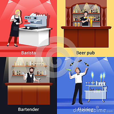 Cocktail People Icon Set Vector Illustration