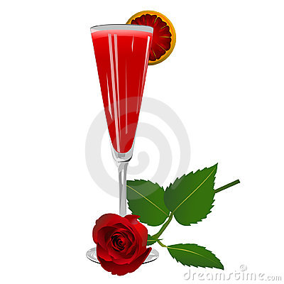 Cocktail with a rose isolated