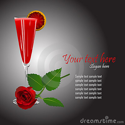 Cocktail and a rose template vector
