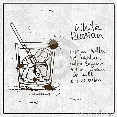 Cocktail russe blanc tir par la main illustration de for Cocktail russe blanc