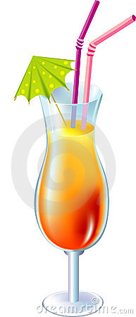Cocktail with small umbrella and straw