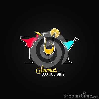 Cocktail summer party design menu background Vector Illustration