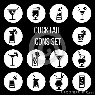 Free Cocktail Vector Icons Set In Black And White Stock Photos - 88125523