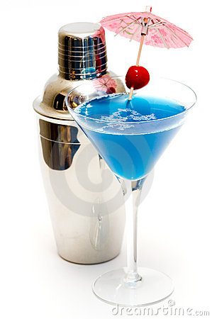 Free Cocktail With Blue Curacao & Shaker Stock Image - 1725701