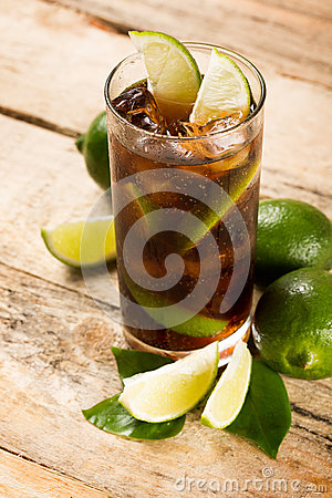 Free Cocktail With Cola Ice Cubes And Lime Royalty Free Stock Photography - 38017167