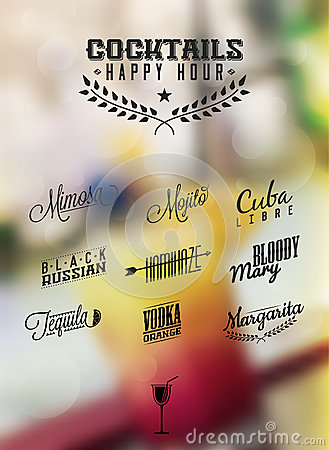 Cocktails Happy Hour Cocktails Label