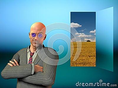 Cocky Businessman and Doorway