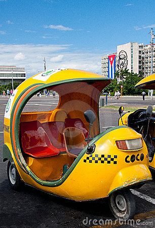 Coco taxi on the Plaza de la Revolucion, Havana Editorial Stock Image
