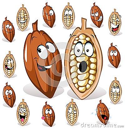 Cocoa bean cartoon