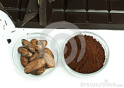 Cocoa beans, cocoa powder and chocolate bar
