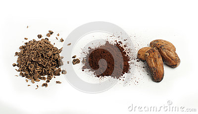 Cocoa beans, cocoa powder and grated chocolate