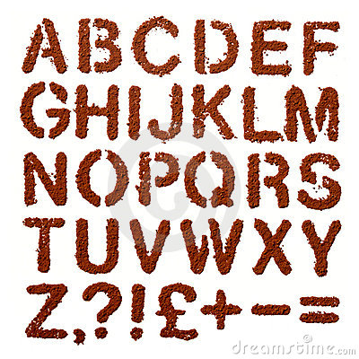 Free Cocoa Dust Letters Alphabet And Signs Over White Royalty Free Stock Images - 8373799