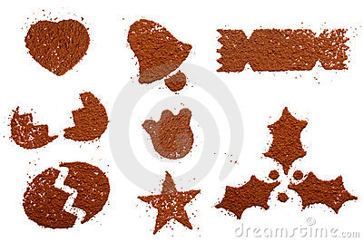 Cocoa powder in festive symbol shapes