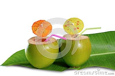 Coconut beverage straw cocktail