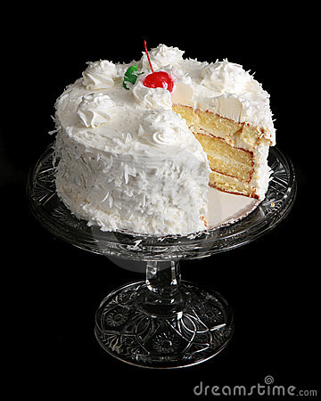 Free Coconut Cake On A Crystal Cake Stand Royalty Free Stock Image - 12402846