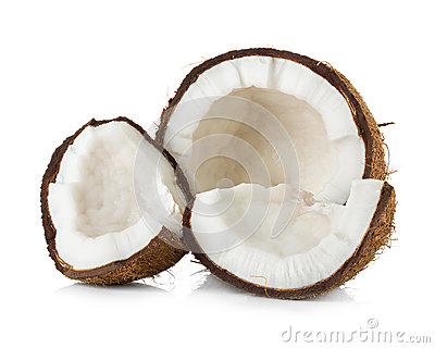 Coconut cut in half on white