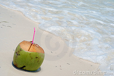 Coconut drink on beach
