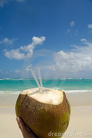 Coconut Drink And Exotic Beach Royalty Free Stock Images - Image: 5294169