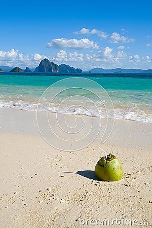 Coconut drink on tropical beach