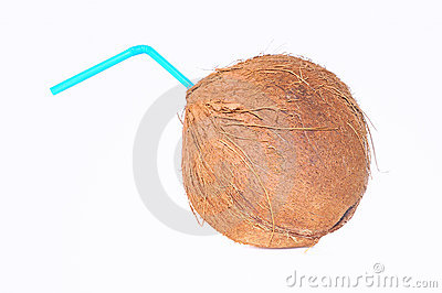 Coconut with a drinking straw.