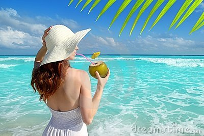 Coconut fresh cocktail beach woman drinking