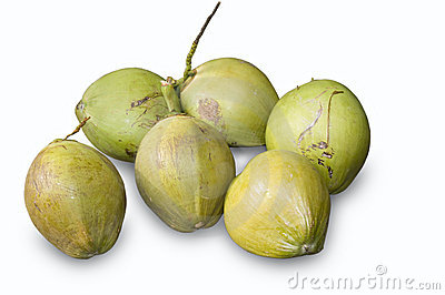 Picture of six green coconuts.Note: PNG or isolated image is available ...