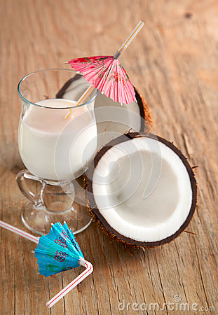 Coconut milk and coconuts.