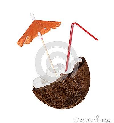 Coconut with milk splash and straw