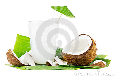 Coconut milk on white
