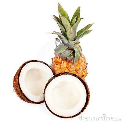 Coconut and pineapple isolated