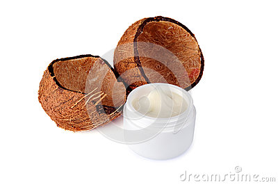 Coconut shells and  jar of cream