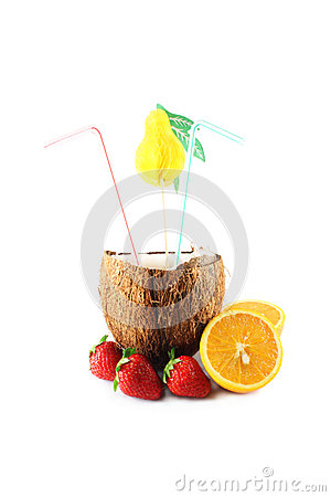 Coconut with strawberries and oranges