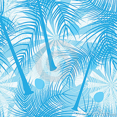 Coconut Trees Blue Color Seamless Pattern_eps