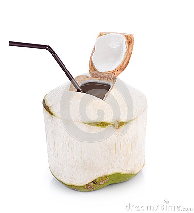 Free Coconut Water Drink On White Background With Clipping Path Royalty Free Stock Photos - 72312598