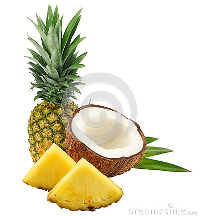 Free Coconut With Pineapple And Green Leaves Isolated On White Background Royalty Free Stock Photography - 113177927