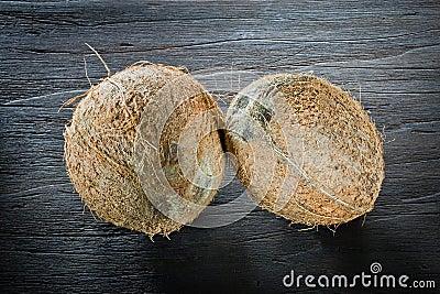 ,coconut on wood,
