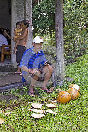 Philippines - Man, Machete & Coconuts Editorial Image