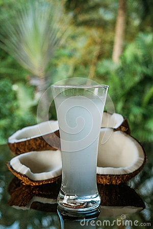 Free Coconuts And Coconut Water On The Black Glass Table Isolated Over Blurred Palm Trees Background Royalty Free Stock Photography - 94130747