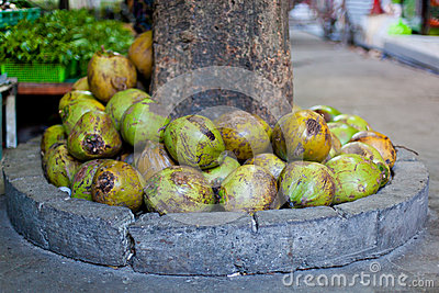 Coconuts in asian market