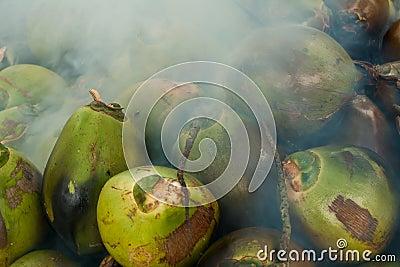 Coconuts burning