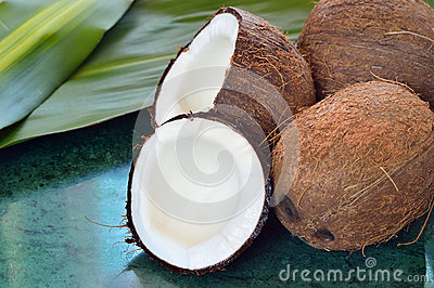 coconuts on green marble slab